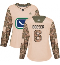Women's Adidas Vancouver Canucks #6 Brock Boeser Authentic Camo Veterans Day Practice NHL Jersey