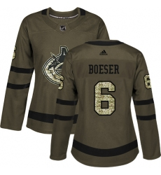 Women's Adidas Vancouver Canucks #6 Brock Boeser Authentic Green Salute to Service NHL Jersey