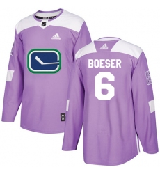 Youth Adidas Vancouver Canucks #6 Brock Boeser Authentic Purple Fights Cancer Practice NHL Jersey