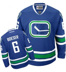 Youth Reebok Vancouver Canucks #6 Brock Boeser Premier Royal Blue Third NHL Jersey