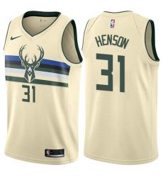 Men's Nike Milwaukee Bucks #31 John Henson Authentic Cream NBA Jersey - City Edition