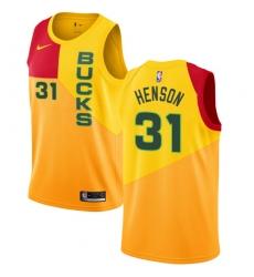 Men's Nike Milwaukee Bucks #31 John Henson Swingman Yellow NBA Jersey - City Edition