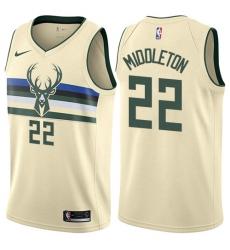 Men's Nike Milwaukee Bucks #22 Khris Middleton Authentic Cream NBA Jersey - City Edition
