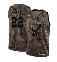 Men's Nike Milwaukee Bucks #22 Khris Middleton Swingman Camo Realtree Collection NBA Jersey