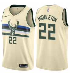 Men's Nike Milwaukee Bucks #22 Khris Middleton Swingman Cream NBA Jersey - City Edition