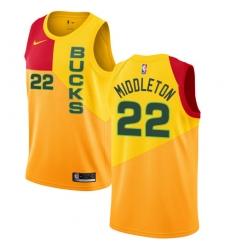 Men's Nike Milwaukee Bucks #22 Khris Middleton Swingman Yellow NBA Jersey - City Edition