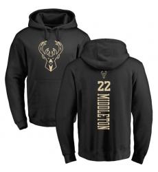 NBA Nike Milwaukee Bucks #22 Khris Middleton Black One Color Backer Pullover Hoodie