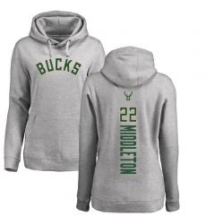 NBA Women's Nike Milwaukee Bucks #22 Khris Middleton Ash Backer Pullover Hoodie