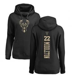 NBA Women's Nike Milwaukee Bucks #22 Khris Middleton Black One Color Backer Pullover Hoodie