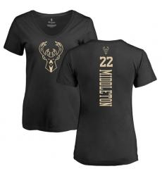 NBA Women's Nike Milwaukee Bucks #22 Khris Middleton Black One Color Backer Slim-Fit V-Neck T-Shirt