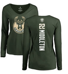 NBA Women's Nike Milwaukee Bucks #22 Khris Middleton Green Backer Long Sleeve T-Shirt