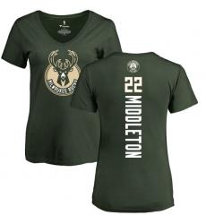 NBA Women's Nike Milwaukee Bucks #22 Khris Middleton Green Backer T-Shirt