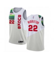 Women's Nike Milwaukee Bucks #22 Khris Middleton White Swingman Jersey - Earned Edition