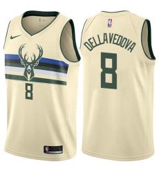 Men's Nike Milwaukee Bucks #8 Matthew Dellavedova Authentic Cream NBA Jersey - City Edition