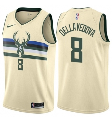 Men's Nike Milwaukee Bucks #8 Matthew Dellavedova Swingman Cream NBA Jersey - City Edition