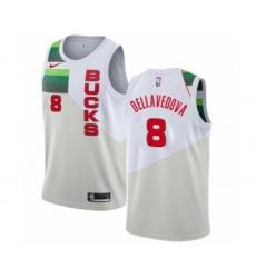Men's Nike Milwaukee Bucks #8 Matthew Dellavedova White Swingman Jersey - Earned Edition