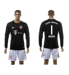 Bayern Munchen #1 Neuer Goalkeeper Black Long Sleeves Soccer Club Jersey