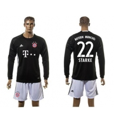 Bayern Munchen #22 Starke Goalkeeper Black Long Sleeves Soccer Club Jersey