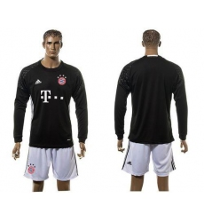 Bayern Munchen Blank Goalkeeper Black Long Sleeves Soccer Club Jersey