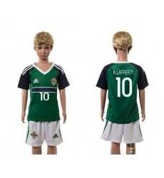 Northern Ireland #10 K.Lafferty Green Home Kid Soccer Country Jersey
