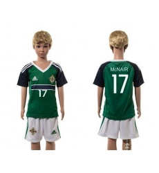 Northern Ireland #17 McNAIR Green Home Kid Soccer Country Jersey