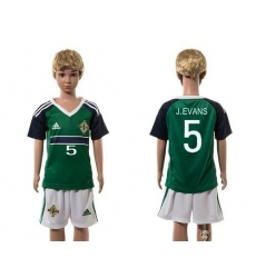 Northern Ireland #5 J.Evans Green Home Kid Soccer Country Jersey