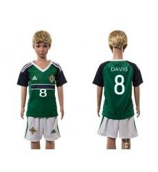 Northern Ireland #8 Davis Green Home Kid Soccer Country Jersey