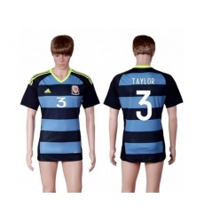 Wales #3 Taylor Away Soccer Country Jersey