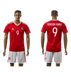 Wales #9 Robson-Kanu Red Home Soccer Club Jersey