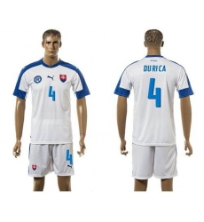 Slovakia #4 Durica Home Soccer Country Jersey