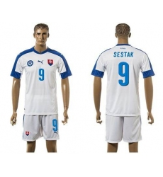 Slovakia #9 Sestak Home Soccer Country Jersey