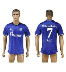 Schalke 04 #7 Raul Blue Home Soccer Club Jersey