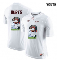 Alabama Crimson Tide #2 Jalen Hurts White With Portrait Print Youth College Football Jersey2