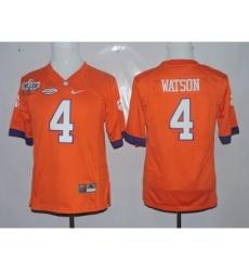 Clemson Tigers 4 Deshaun Watson Orange 1975-1978 Fuller Youth College Jersey