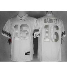Buckeyes #16 J. T. Barrett White Limited Platinum Stitched NCAA Jersey