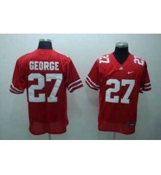 Buckeyes #27 Eddie George Red Embroidered NCAA Jersey