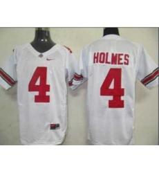 Buckeyes #4 Santonio Holmes White Embroidered NCAA Jersey
