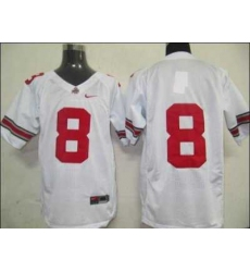 Buckeyes #8 White Embroidered NCAA Jersey