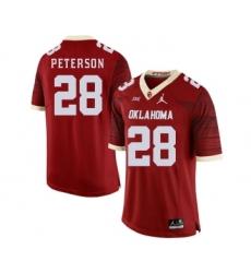 Oklahoma Sooners 28 Adrian Peterson Red 47 Game Winning Streak College Football Jersey