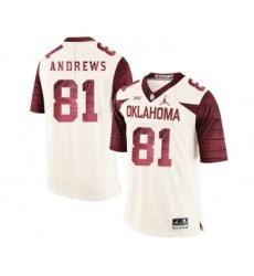 Oklahoma Sooners 81 Mark Andrews White 47 Game Winning Streak College Football Jersey