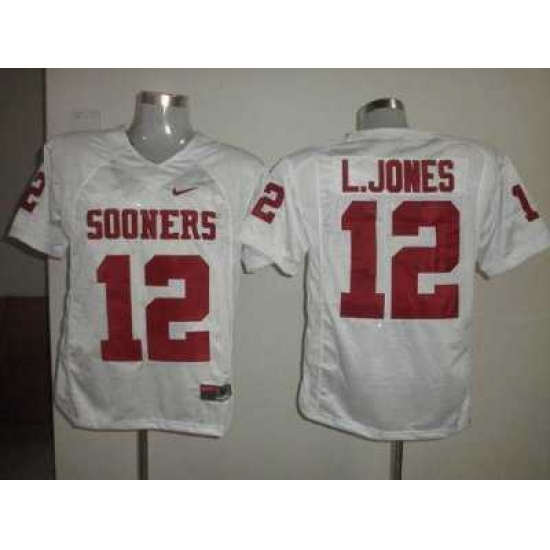 Sooners #12 Landy Jones White Embroidered NCAA Jersey