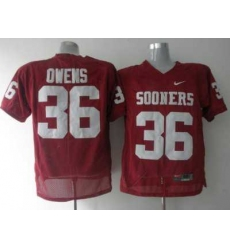 Sooners #36 Steve Owens Red Embroidered NCAA Jersey