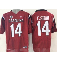 South Carolina Fighting Gamecocks #14 Connor Shaw Red SEC Patch Stitched NCAA Jersey