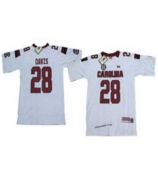 Under Armour South Carolina 28 Davis White New Style Jersey with New SEC Patch
