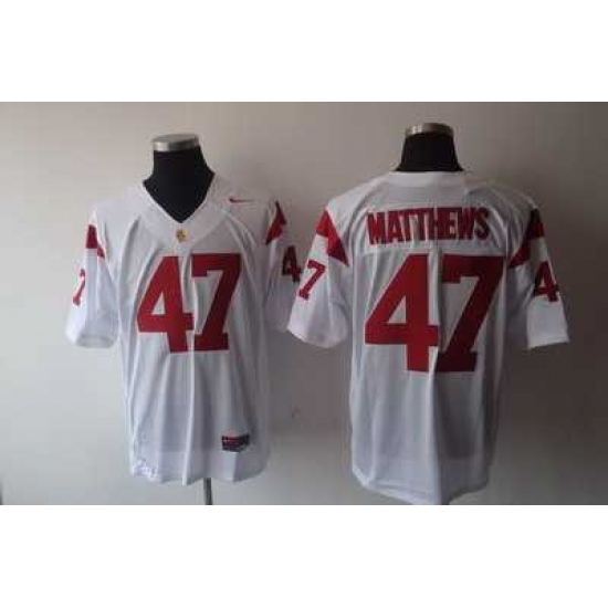 Trojans #47 White Embroidered NCAA Jersey