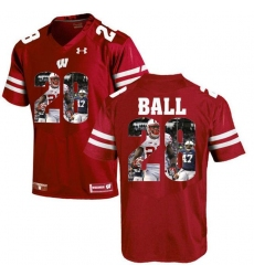 Wisconsin Badgers #28 Montee Ball Red With Portrait Print College Football Jersey2