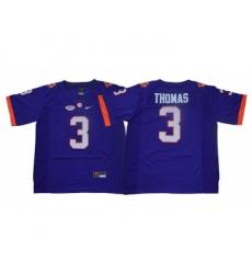 Clemson Tigers 3 Xavier Thomas Purple College Football Jersey