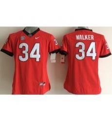 Georgia Bulldogs 34 Walker Red College Women Jerseys