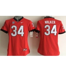 Women's Bulldogs #34 Herschel Walker Red Stitched NCAA Jersey