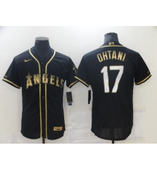 Men's Los Angeles Angels of Anaheim #17 Shohei Ohtani Black Gold Authentic Collection Jersey